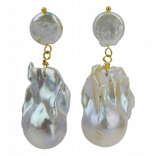 PP Collection - Two Drop Baroque Pearl Earrings